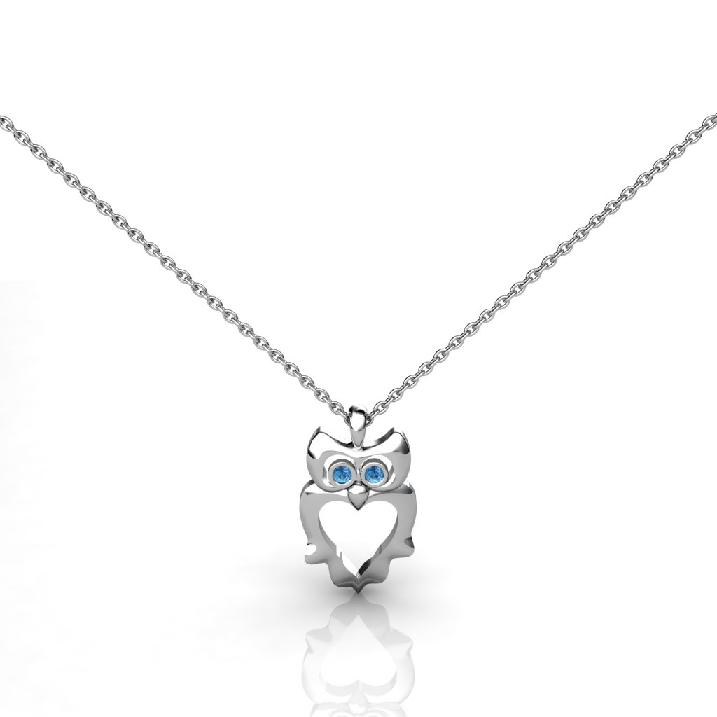Owl Pendant with Wings - Blue Topaz_image1)