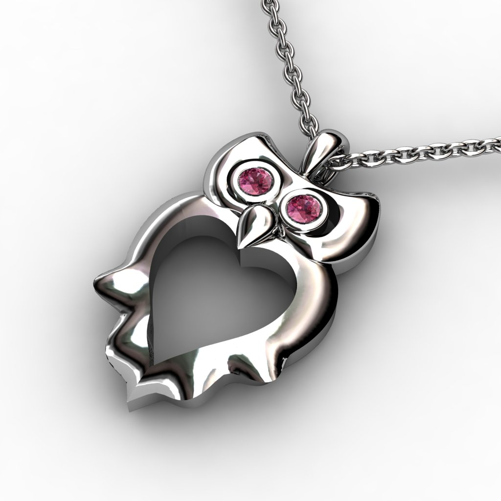 Owl Pendant with Wings - Garnet_image2)
