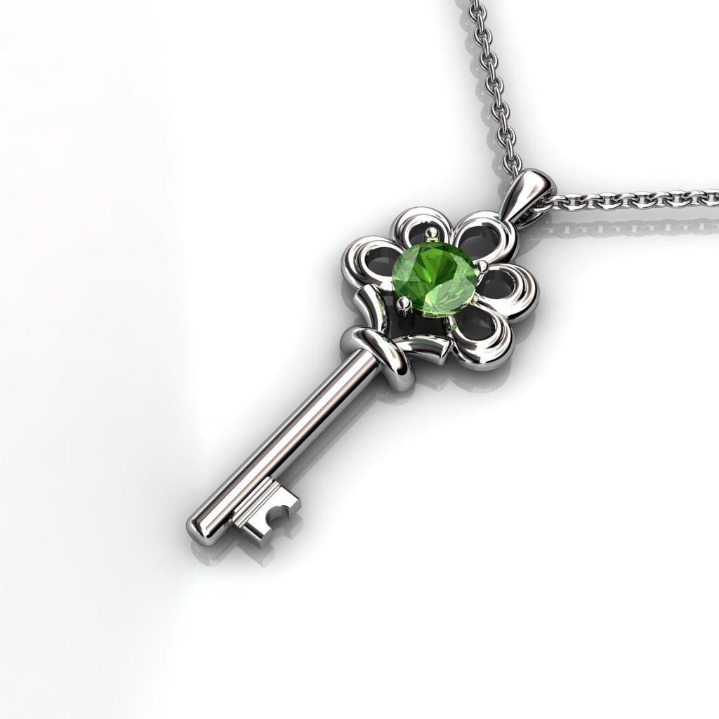 Vintage Key Pendant - Citrine_image2)