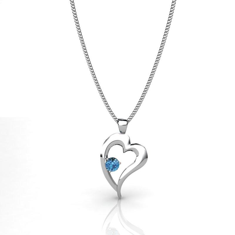 Shimmering Heart Pendant - Blue Topaz_image1)