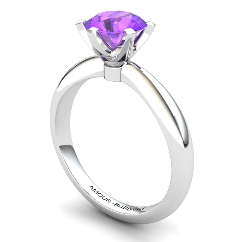 Zoie Solitaire Ring - Amethyst_image1)