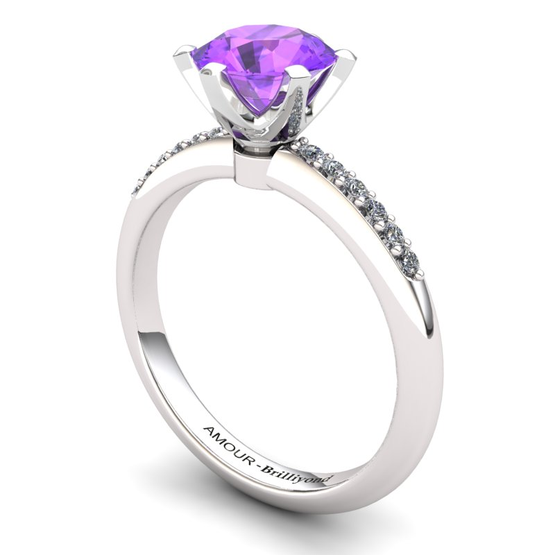Zoie Solitaire Ring with Stone Band - Amethyst_image1)