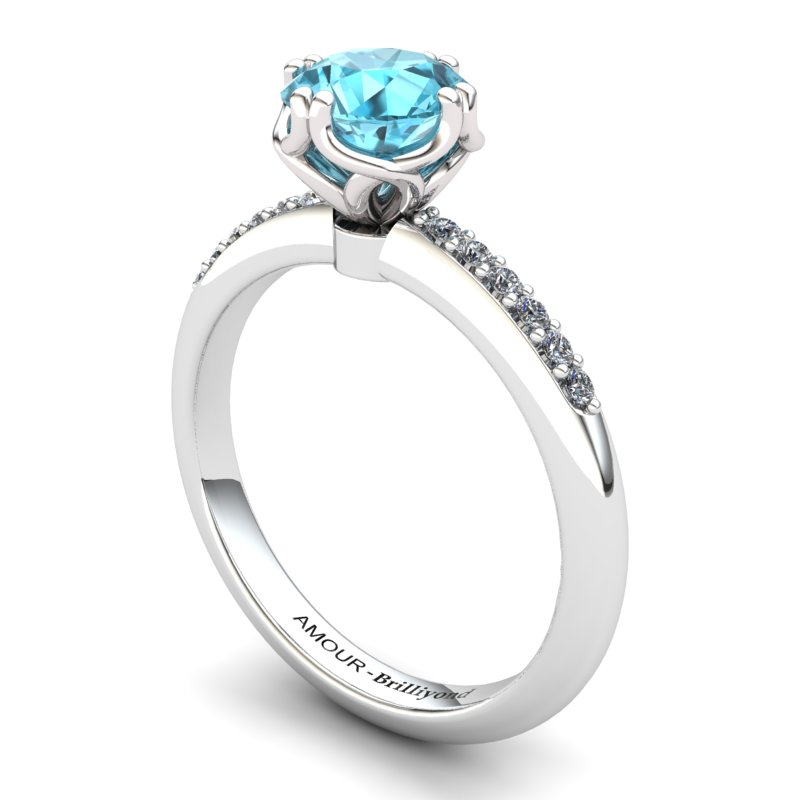 Scepter Solitaire Ring with Stone Band - Blue Topaz_image1)