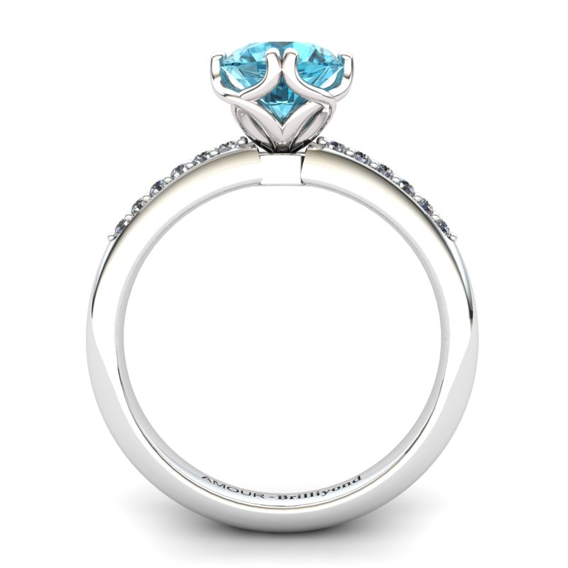 Scepter Solitaire Ring with Stone Band - Blue Topaz_image2)