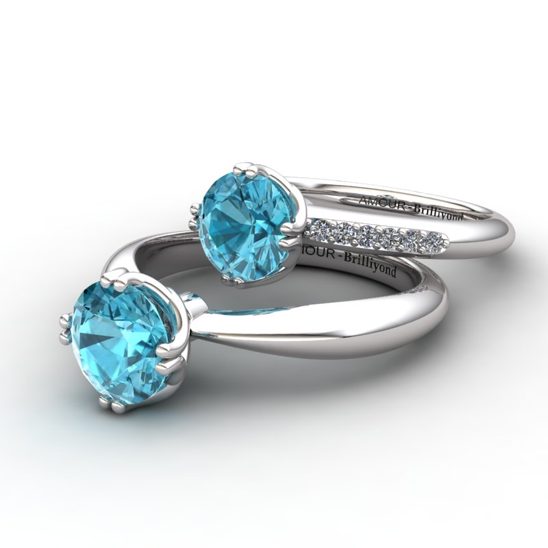 Scepter Solitaire Ring with Stone Band - Blue Topaz_image3)