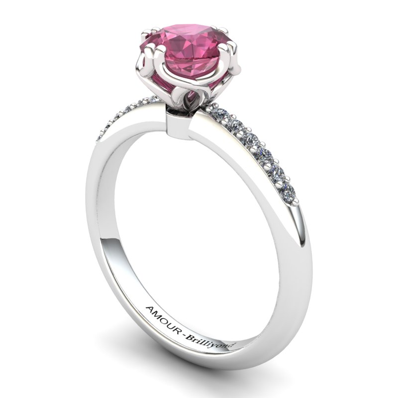 Scepter Solitaire Ring with Stone Band - Garnet_image1)
