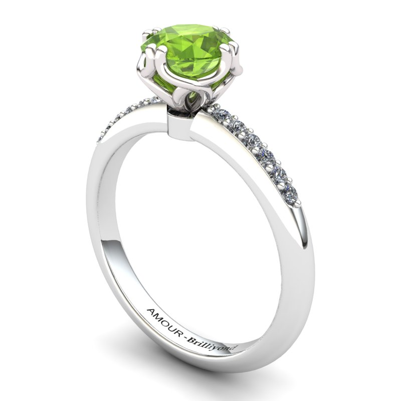 Scepter Solitaire Ring with Stone Band - Peridot_image1)