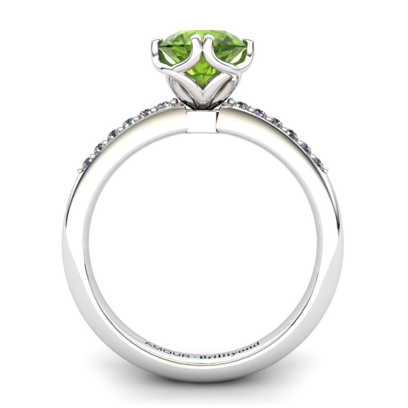 Scepter Solitaire Ring with Stone Band - Peridot_image2)