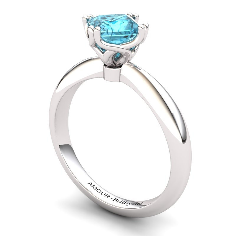Scepter Square Solitaire Ring - Blue Topaz_image1)
