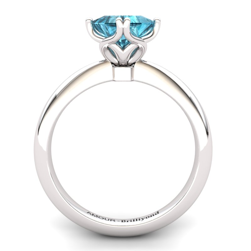 Scepter Square Solitaire Ring - Blue Topaz_image2)
