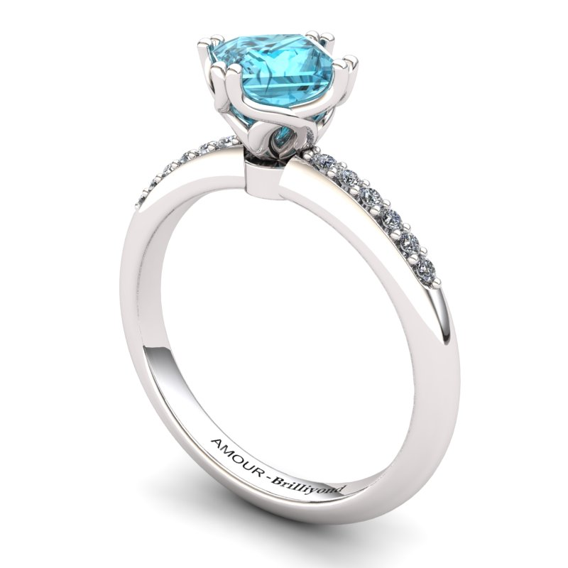 Scepter Square Solitaire Ring with Stone Band - Blue Topaz_image1)