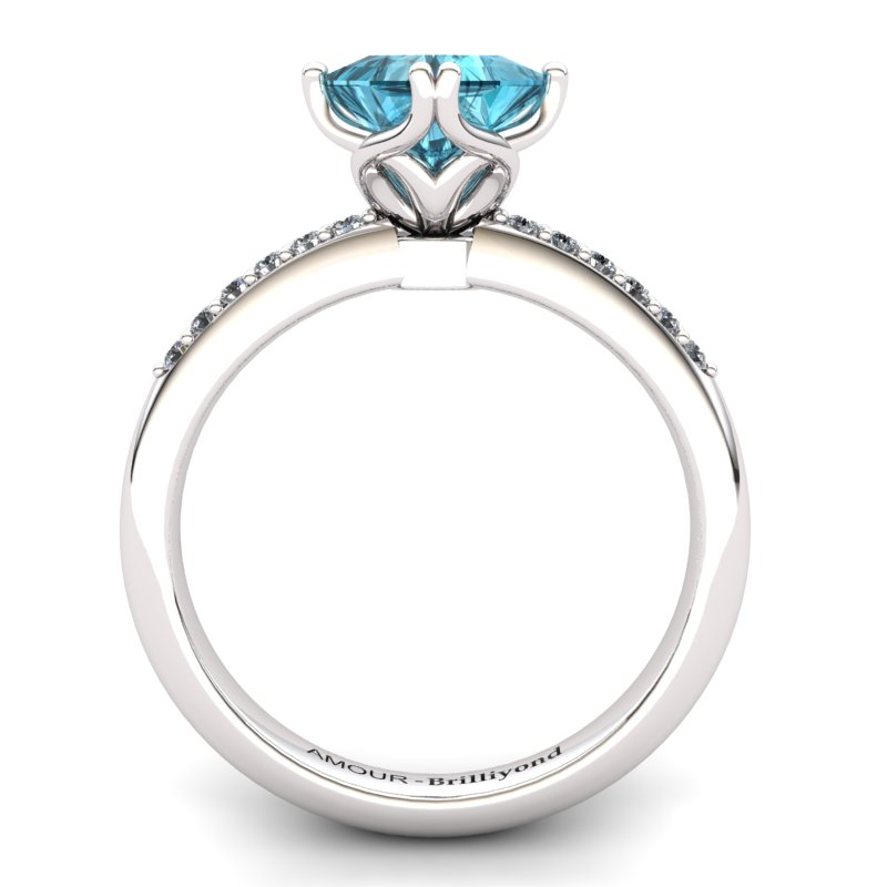 Scepter Square Solitaire Ring with Stone Band - Blue Topaz_image2)