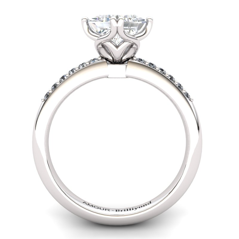 Scepter Square Engagement Solitaire Ring with Stone Band - White Zircon_image2)