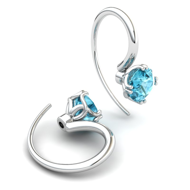 Scepter Hook Earring - Blue Topaz_image2)