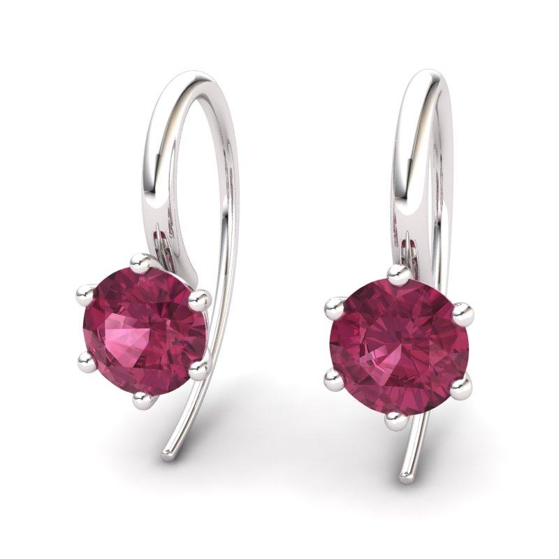 Six Prong Hook Earring - Garnet_image1)