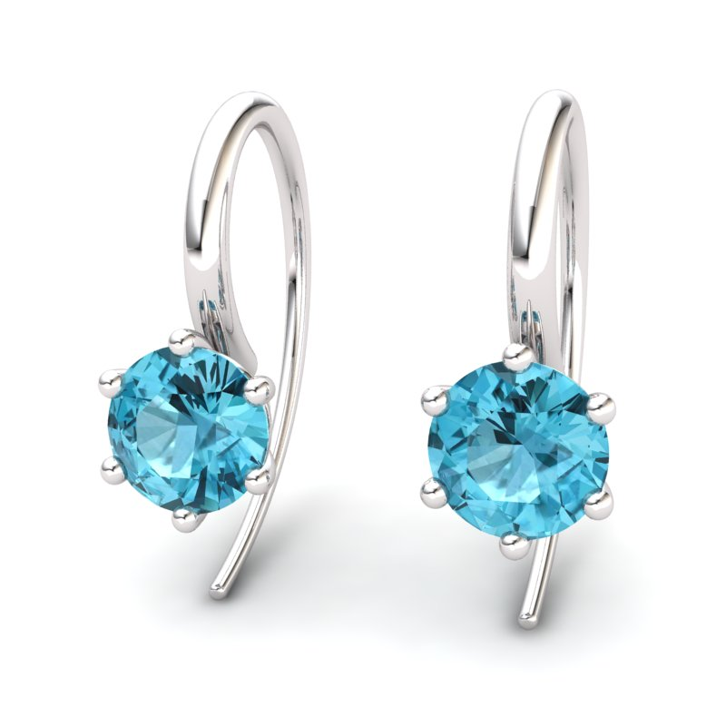 Six Prong Hook Earring - Blue Topaz_image1)