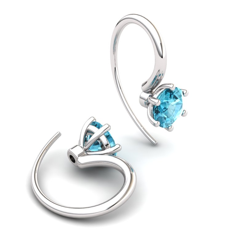 Six Prong Hook Earring - Blue Topaz_image2)