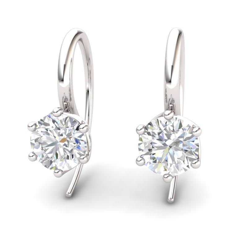 Twist Collet Hook Earring - White Zircon_image1)