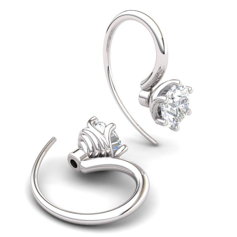 Twist Collet Hook Earring - White Zircon_image2)
