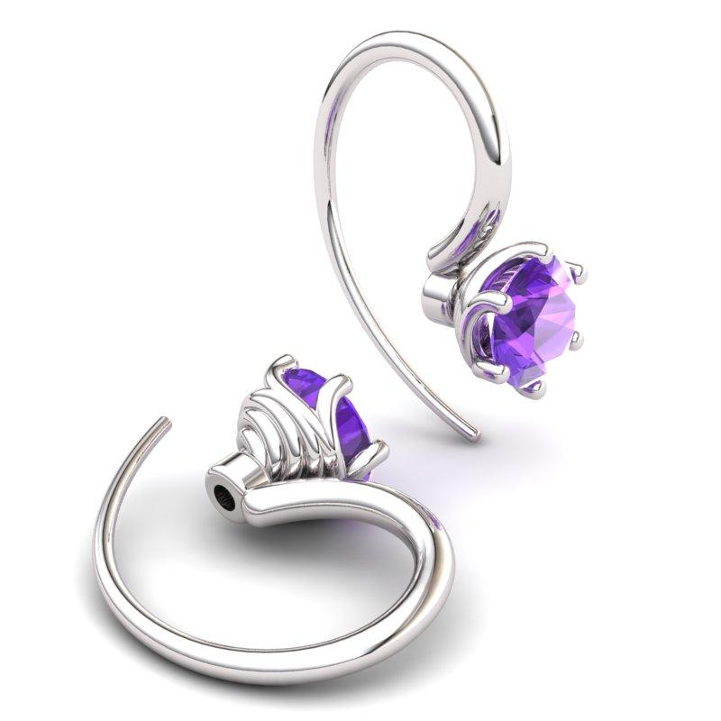 Twist Collet Hook Earring - Amethyst_image2)