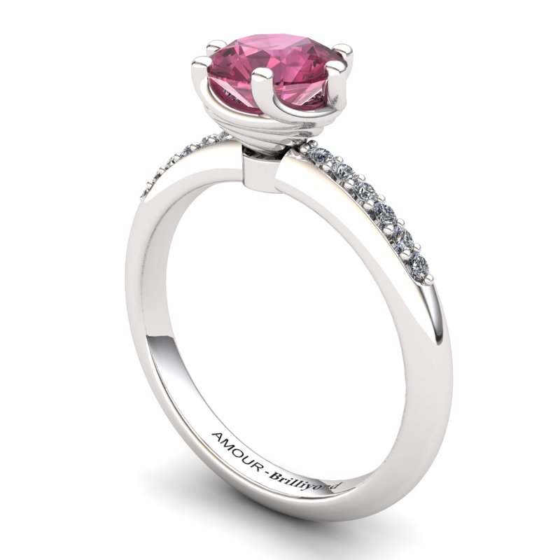 Twist Collet ring with Stone Band - Garnet_image1)