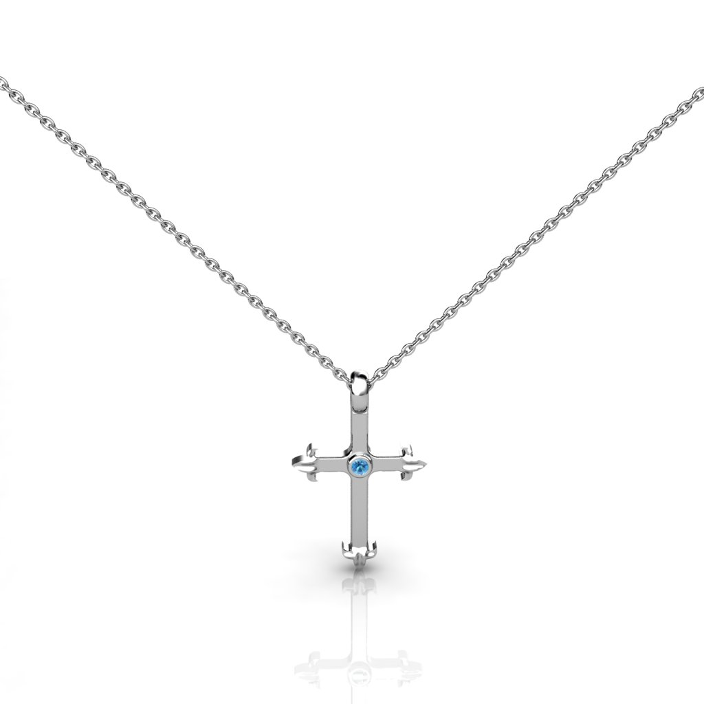 Medieval Inspired Cross Pendant -  Blue Topaz_image1)