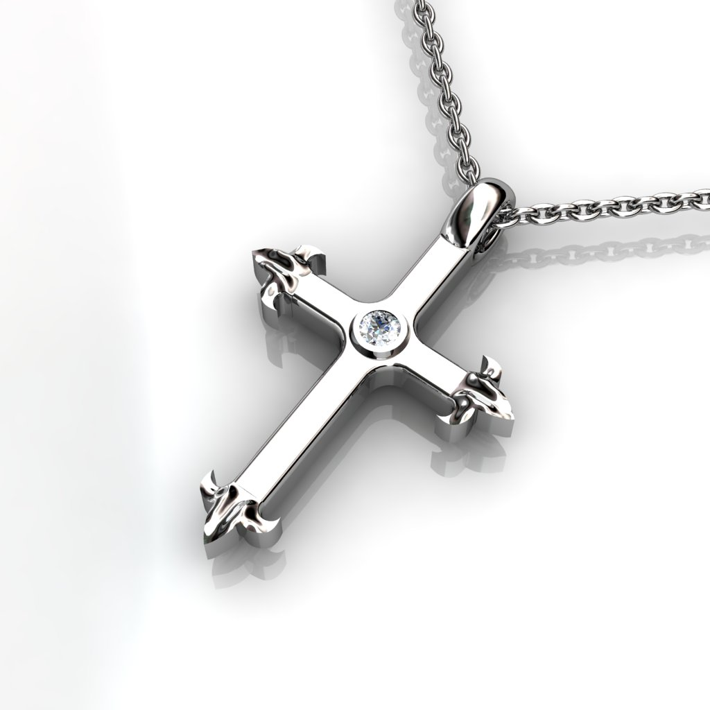 Medieval Inspired Cross Pendant -  Blue Topaz_image2)