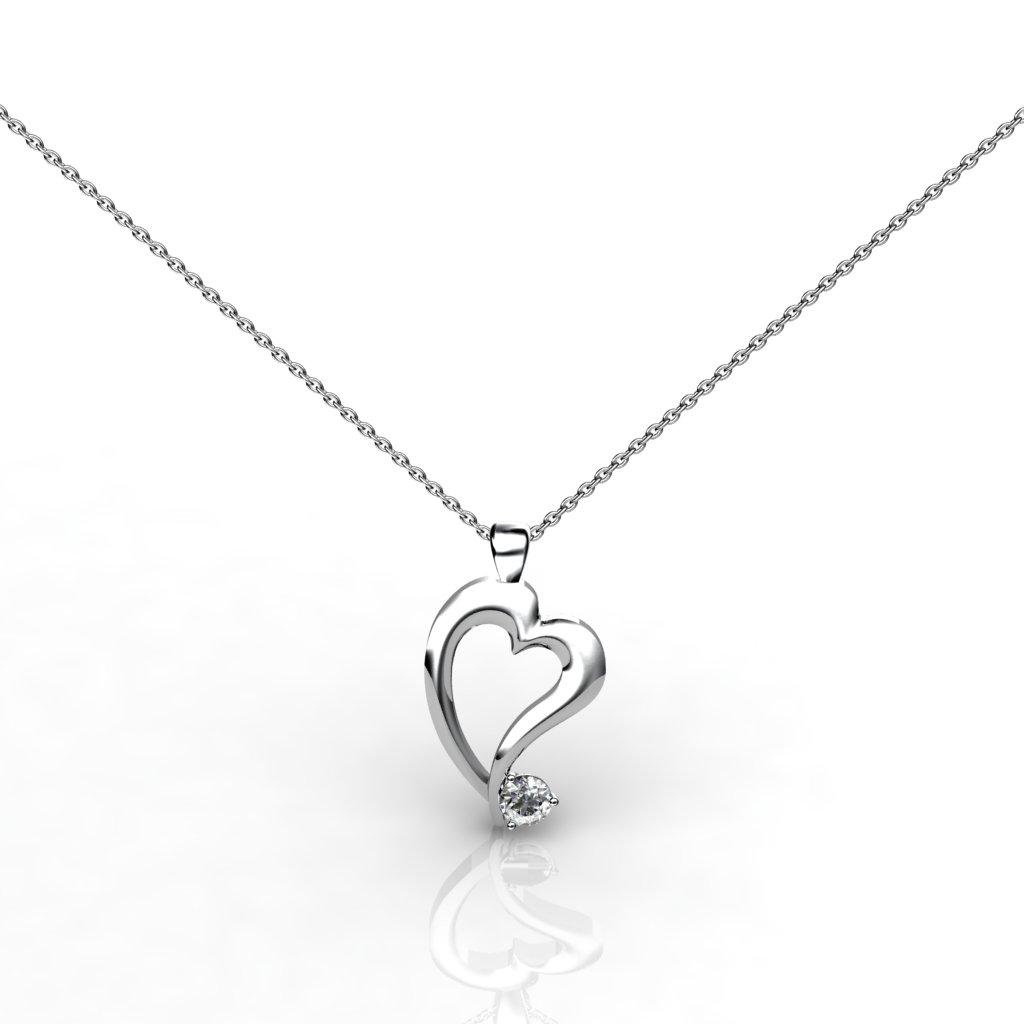 Radiant Heart Pendant - White Zircon_image1)
