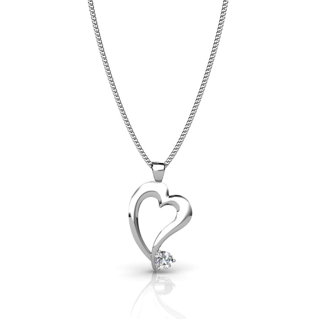Radiant Heart Pendant - White Zircon_image2)