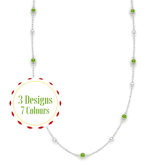 peridot globe matinee necklace in sterling silver)