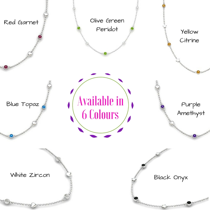 necklace is available in seven gemstones)